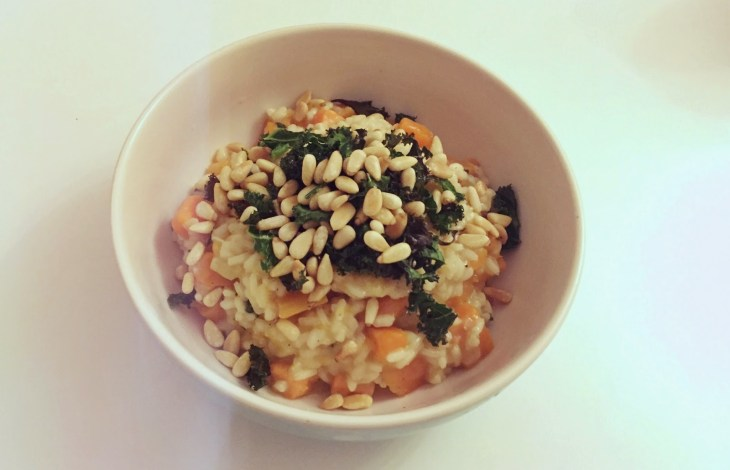 Butternut Squash and Sage Risotto with Roasted Kale and Pine Nuts