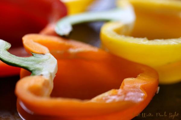 quinoa stuffed bell peppers halved