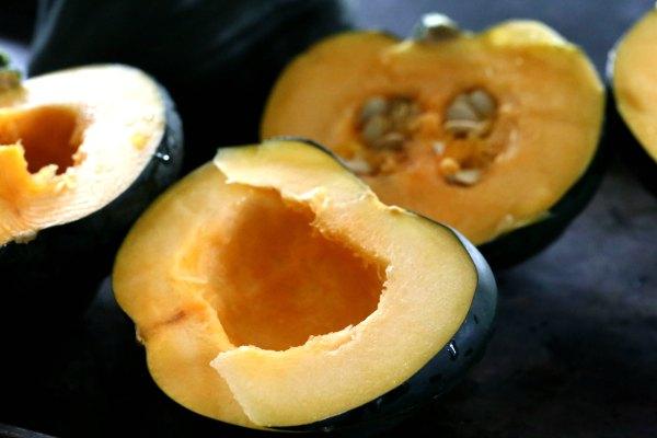 Quinoa Acorn Squash cut in half