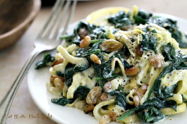 Squash Fettucine with Creamy Spinach
