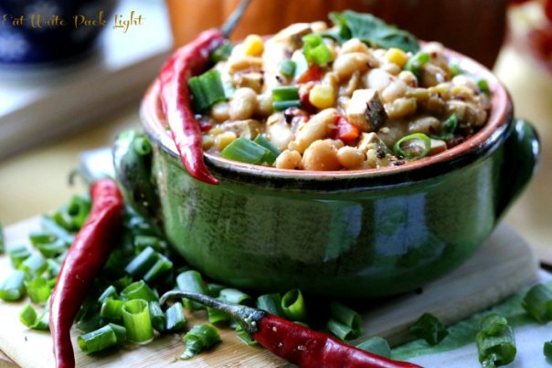 vegetarian white chili red peppers