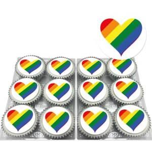 Rainbow Heart LGBT Cupcakes