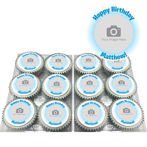 Blue Glow Photo Cupcakes Personalised