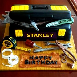 Toolbox cake example with edible photos
