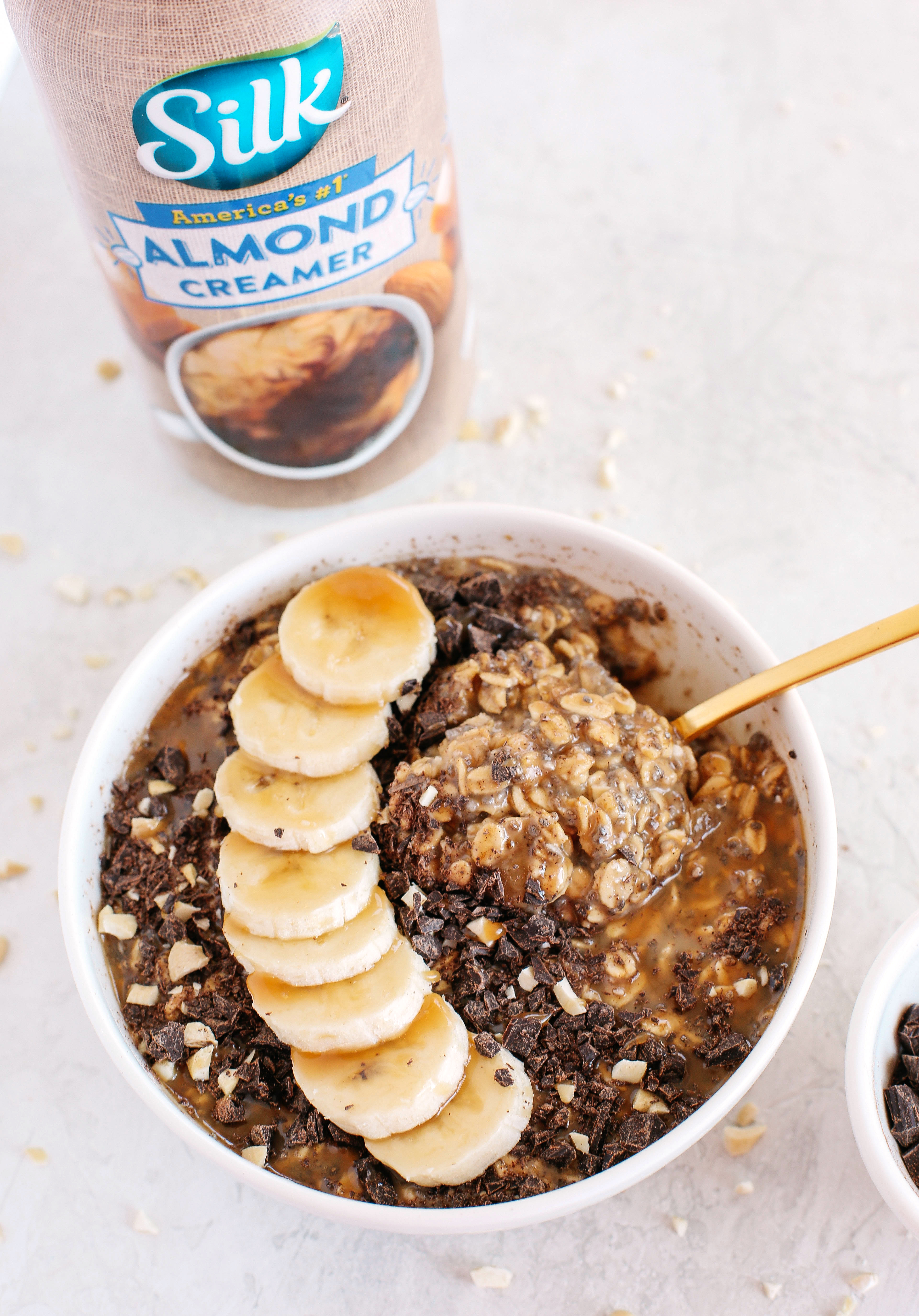 Salted Caramel Overnight Oats drizzled with a sweet homemade caramel sauce easily made in just minutes the night before giving you a deliciously decadent breakfast as soon as you wake up!
