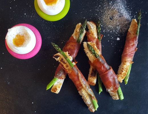 duck egg, asparagus and bacon soldiers