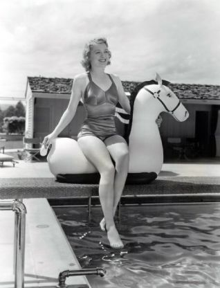 Ellen Drew at the pool