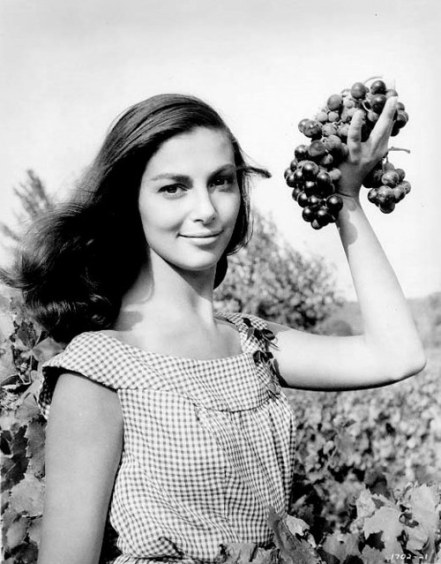Pier Angeli with grapes