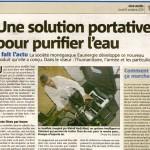 Nice-Matin 6 octobre 2011 Une solution portative pour purifier l'eau