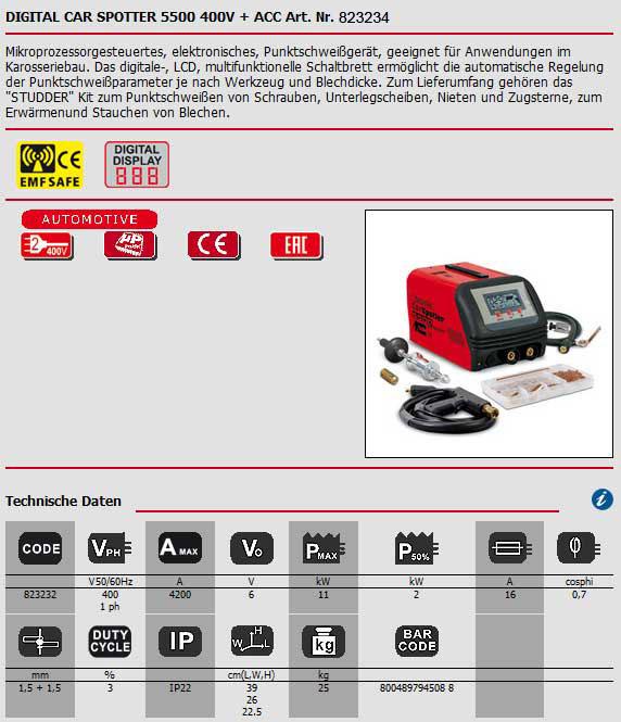 Hier wird das Datenblatt für den Digital Car Spotter 5500 von Telwin als Bild angezeigt