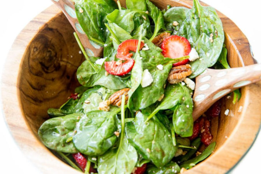 Beautifully delicious Strawberry Pecan Spinach Salad with a balsamic vinaigrette