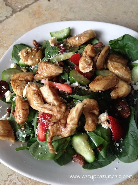 chicken spinach salad, balsamic, pecan, strawberry