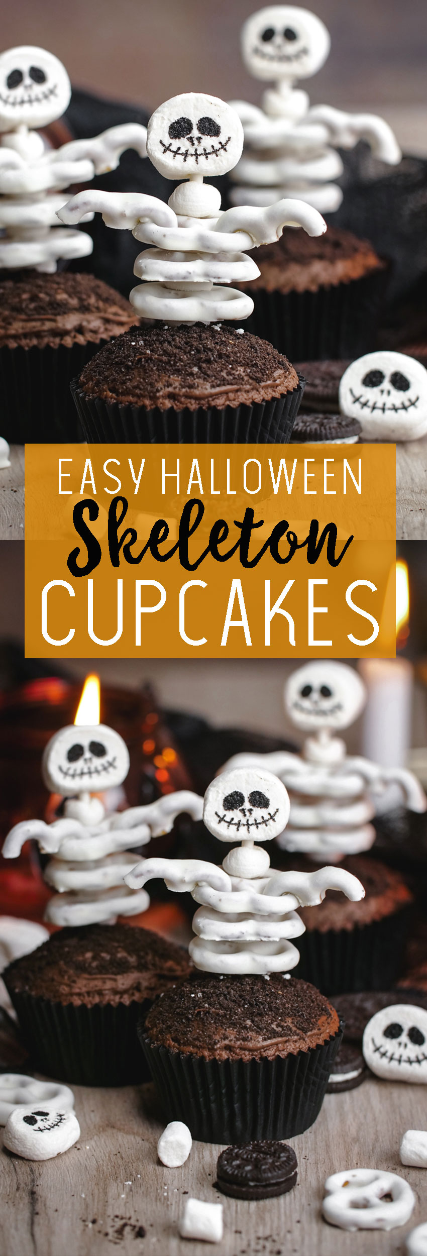 Easy Halloween Skeleton Cupcakes! Delicious, easy, and fun.