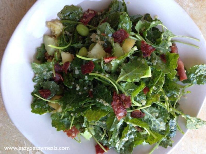 apple bacon kale salad with grapefruit vinegrette