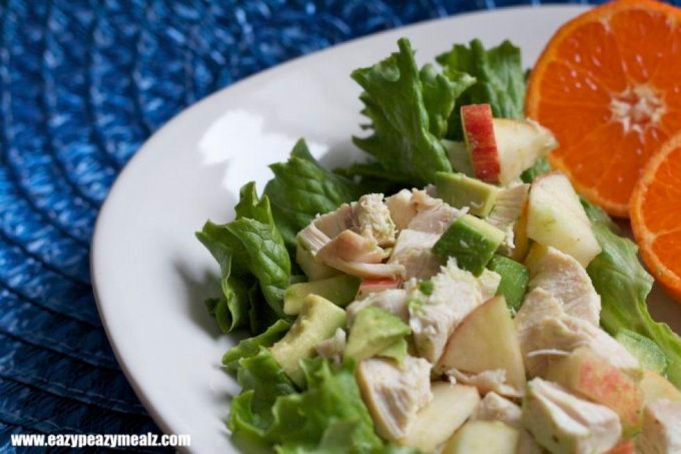 Lettuce wrap chicken, avocado, apple