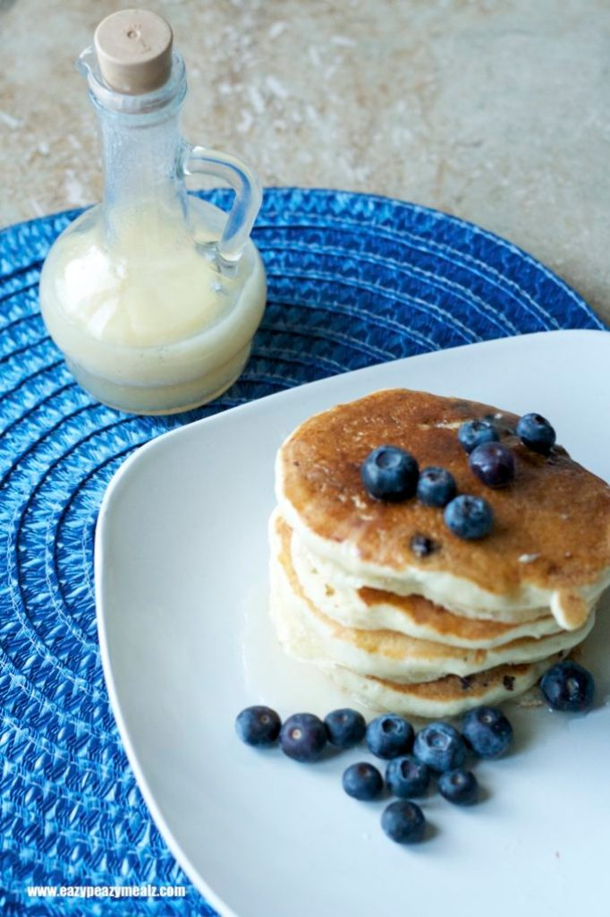 buttermilk syrup and blueberry pancakes