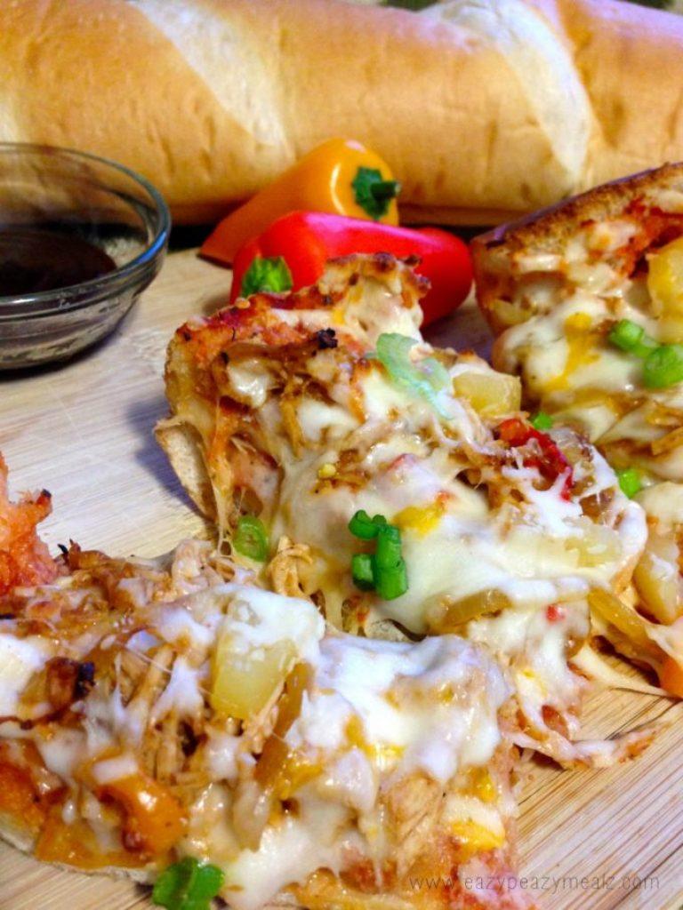 pizza, french bread bbq chicken