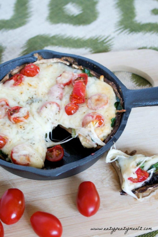 cast iron portabello mushroom pizza