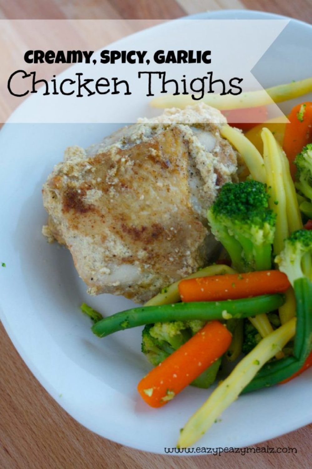creamy, spicy, garlic chicken thighs