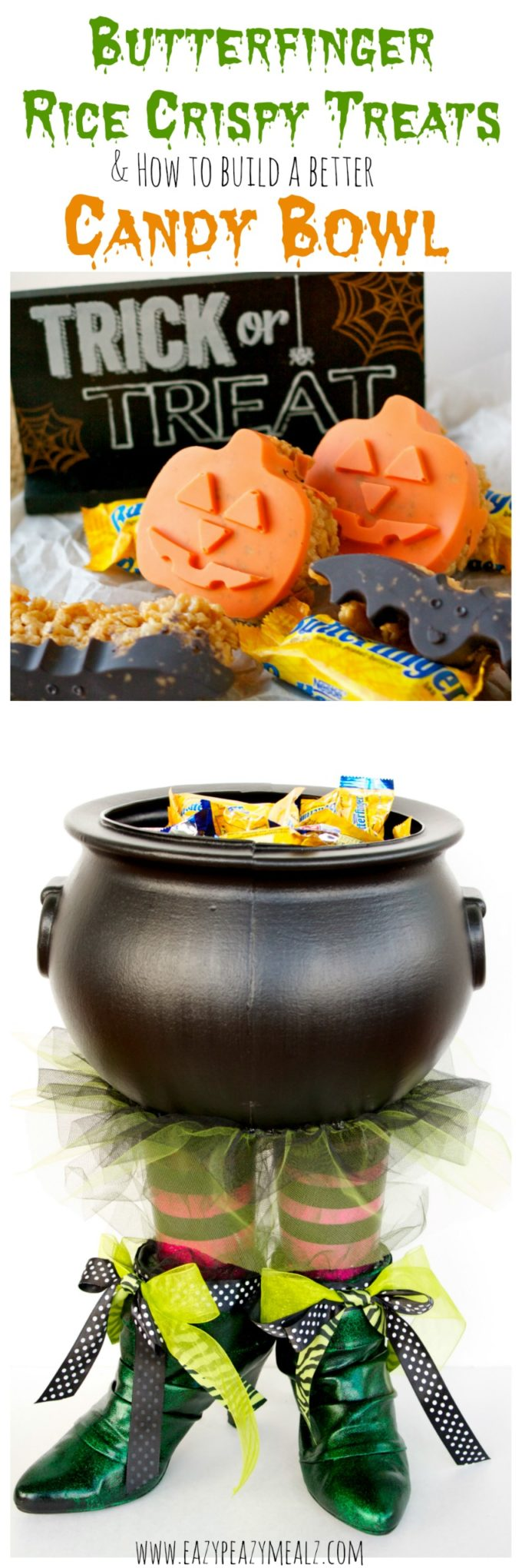 Butterfinger Halloween Rice Crispy Treats & How to Build A ...