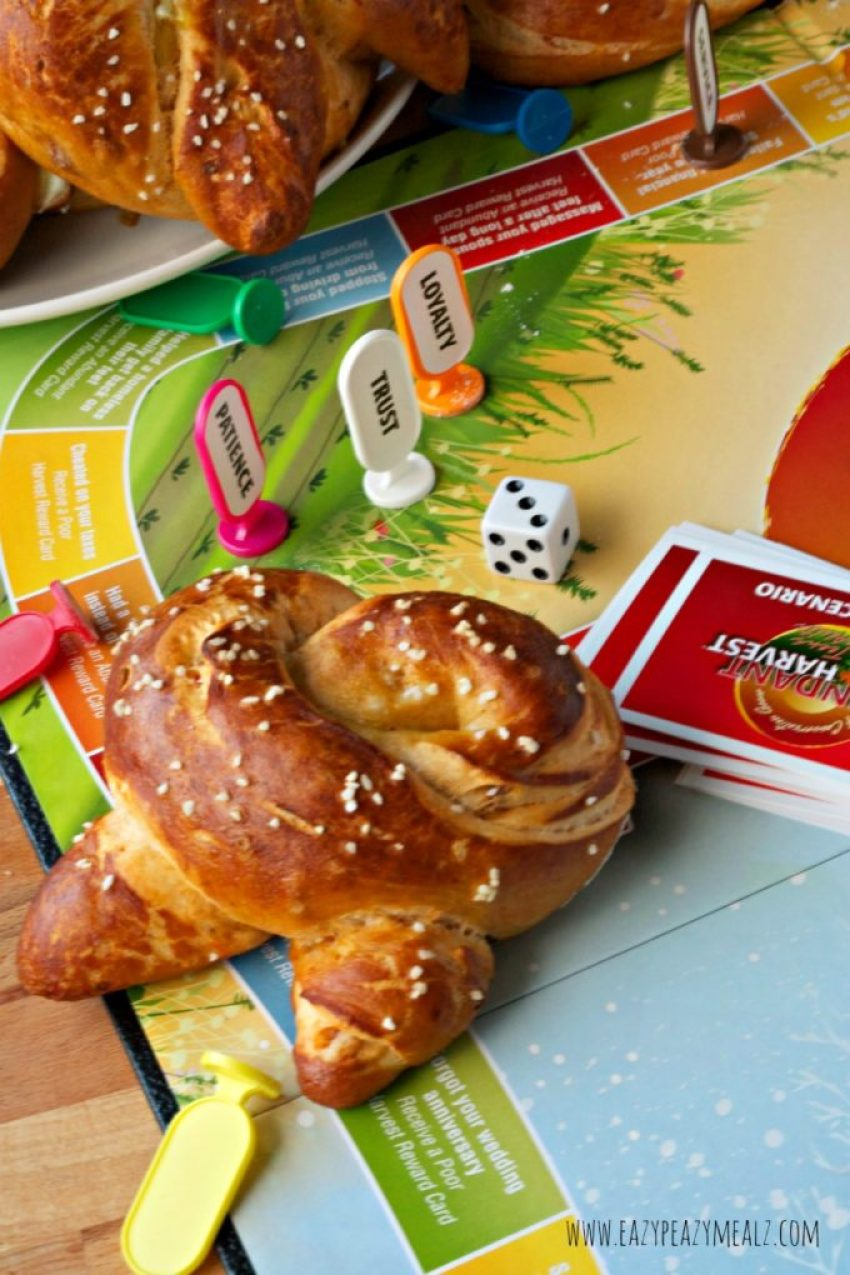 game night with soft pretzels