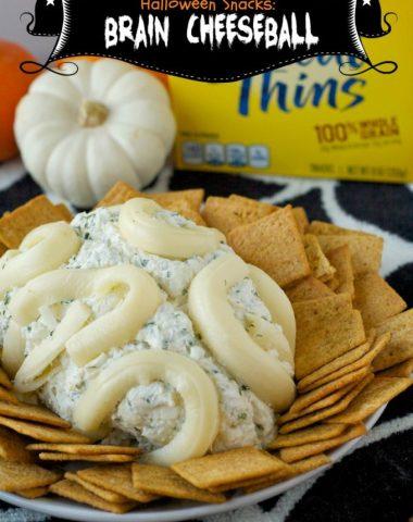 halloween snacks, brain cheeseball, cheese ball