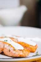 Garlic Rosemary Salmon with creamy dill sauce