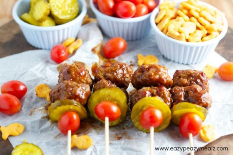 football appetizer meatballs, BBQ Bacon Cheeseburger Meatballs
