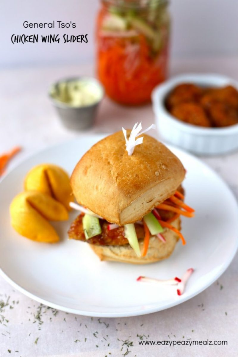 general tsos chicken wing slider for game day