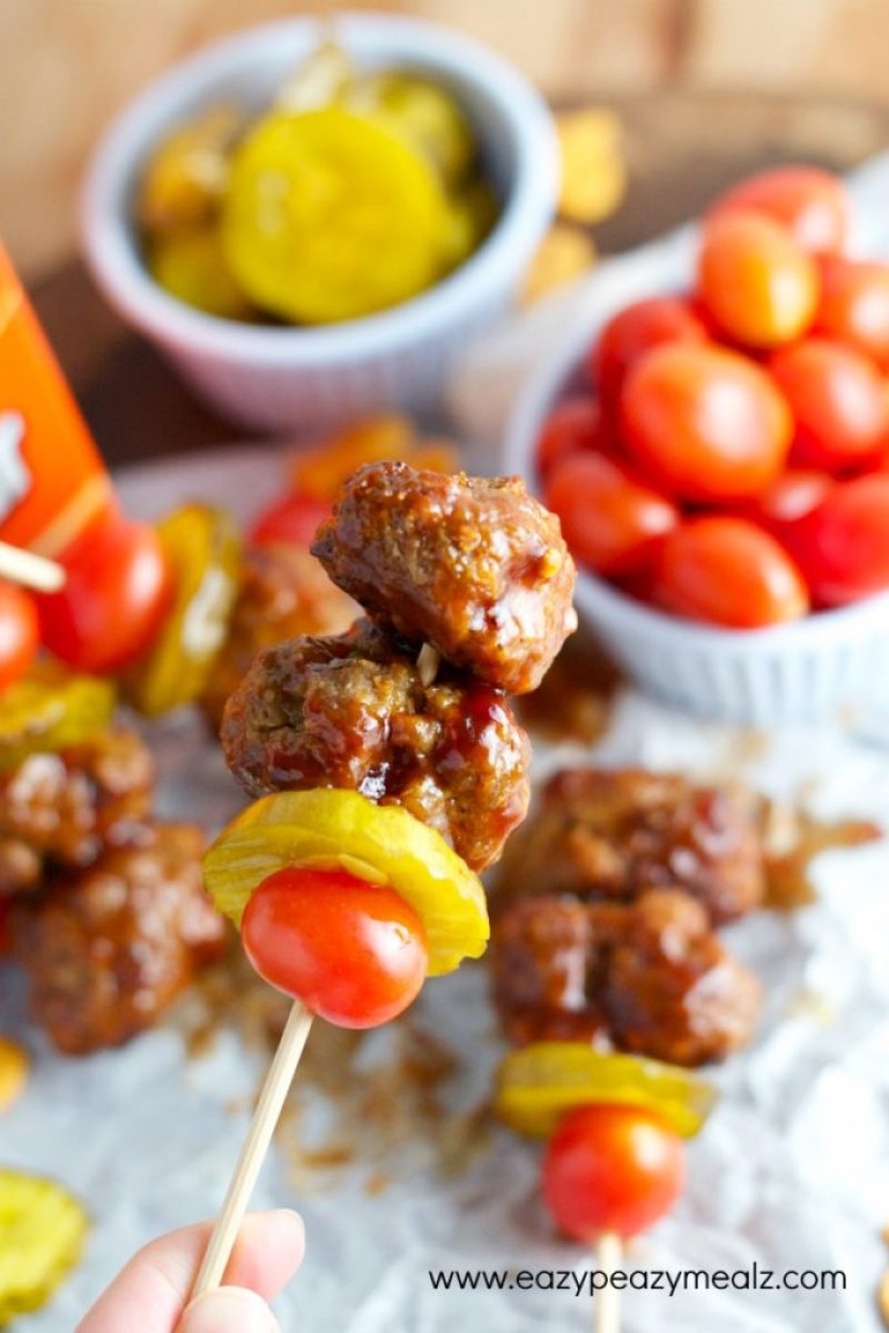 meatball skewer, BBQ Bacon Cheeseburger meatballs, game day snack or meal