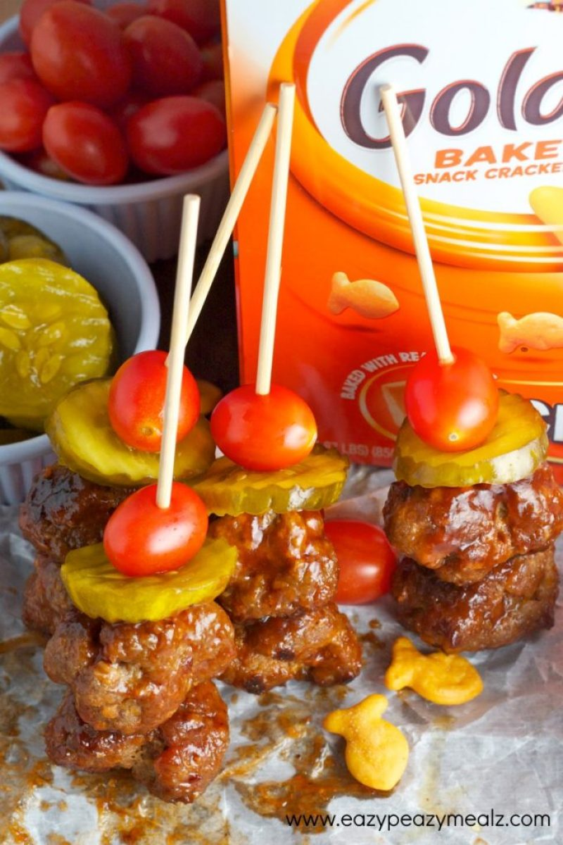 meatball skewers bbq cheddar bacon, made with goldfish, a great meal or snack