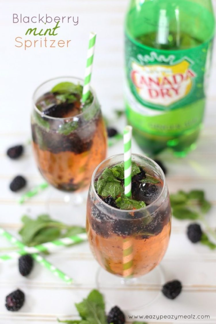 non alcoholic black berry mint spritzer #KeepSpringBubbly