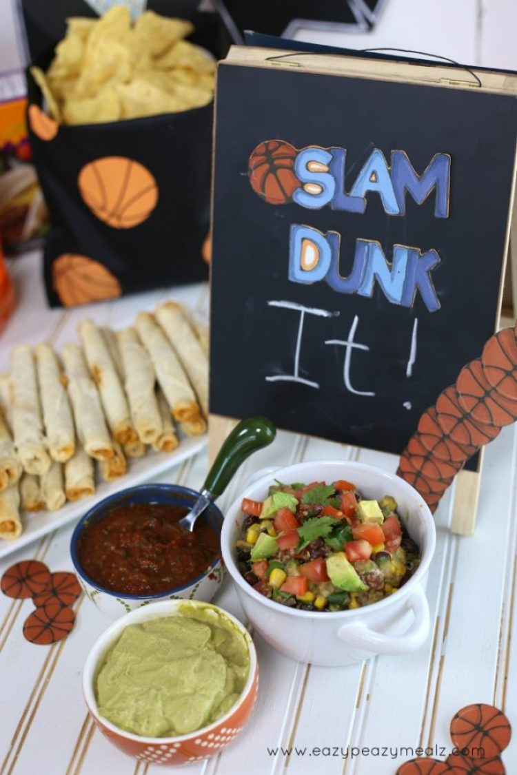 slam dunk the taquitos, dips for your baketball party with delimex