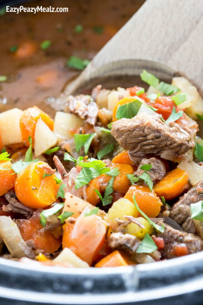 An Italian beef stew that is cooked in the slow cooker.
