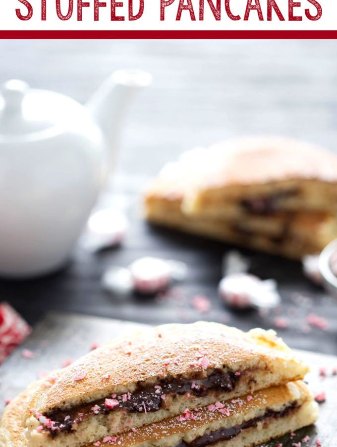 Peppermint hot chocolate stuffed pancakes are great for Christmas morning.