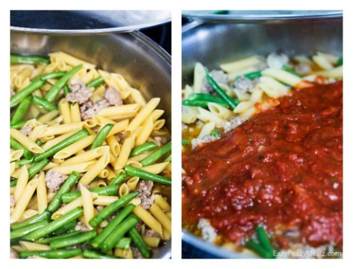 Making this cheesy green bean and sausage skillet pasta