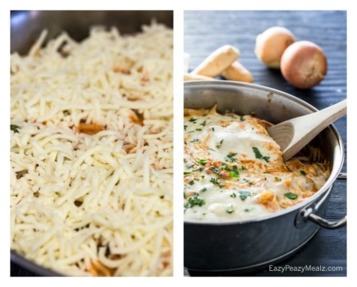 A cheese topped skillet pasta that is made in just 20 minutes.