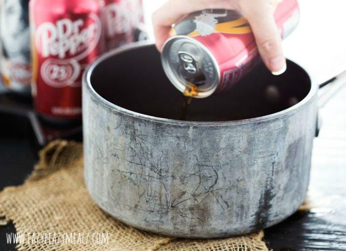 pouring dr pepper in the pan