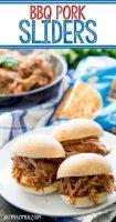 BBQ pork sliders use slow cooker bbq pork sandwiched on fresh rolls