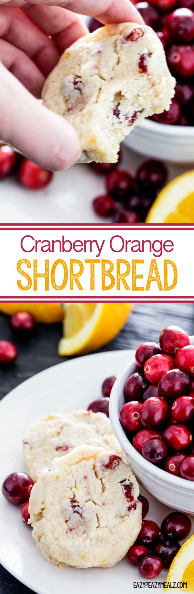 An easy to make, and flavorful Cranberry Orange Shortbread. Great for holiday entertaining. Make these cookies ahead and freeze for easier prep during the holidays.