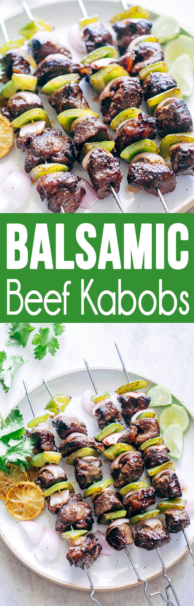 Balsamic Rosemary Beef Kabobs are flavorful, grilled, and delicious