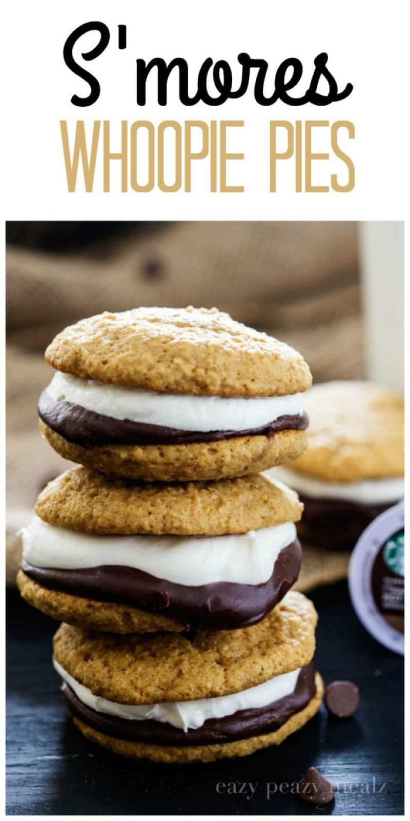 S'mores Whoopie Pie: Graham cracker cake cookies with chocolate ganache and a tasty marshmallow buttercream, that perfectly complimentsthe newStarbucks® Hot Cocoa K-Cup® pods.