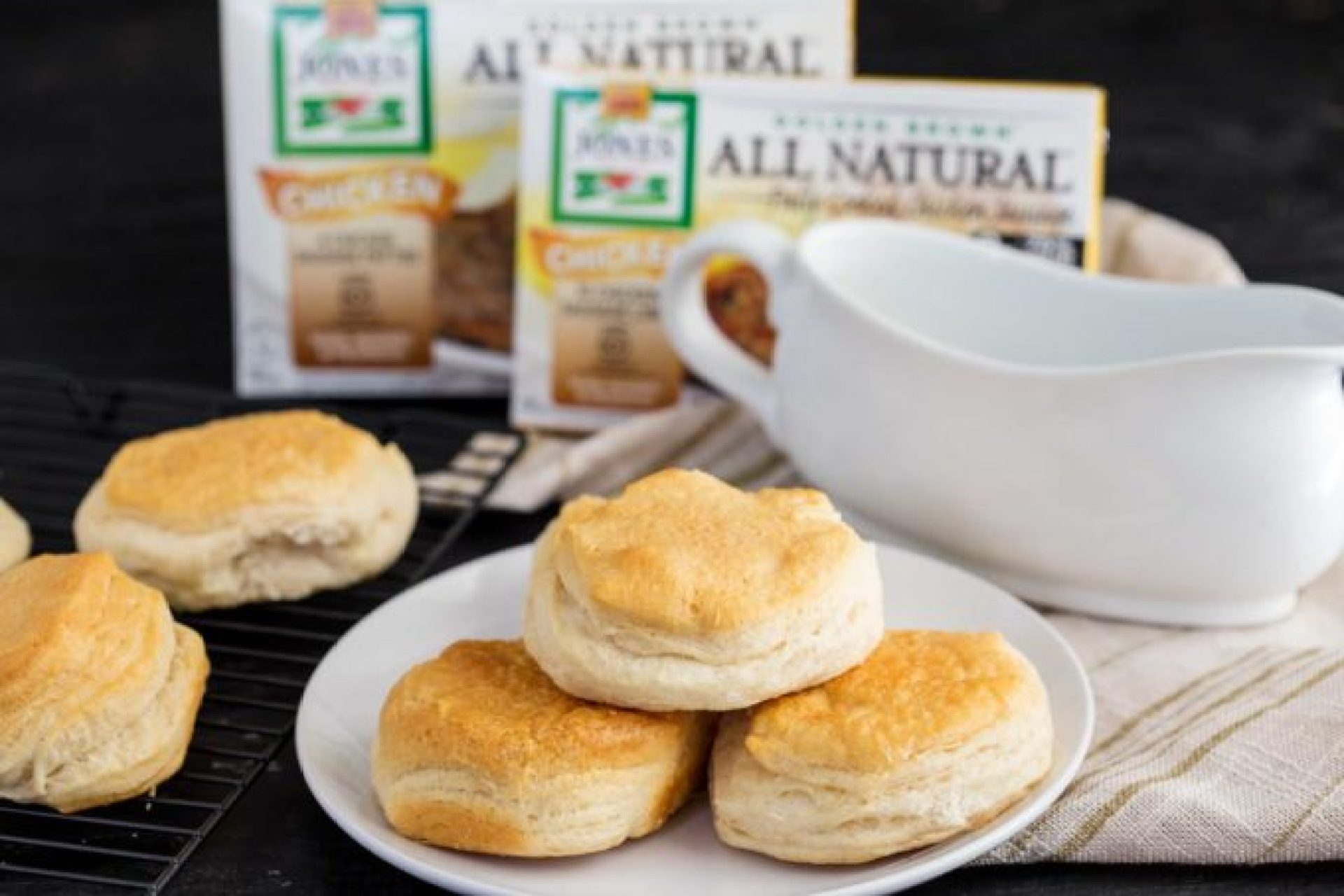 Biscuits to go with the chicken and sausage gravy, an easy and hearty breakfast