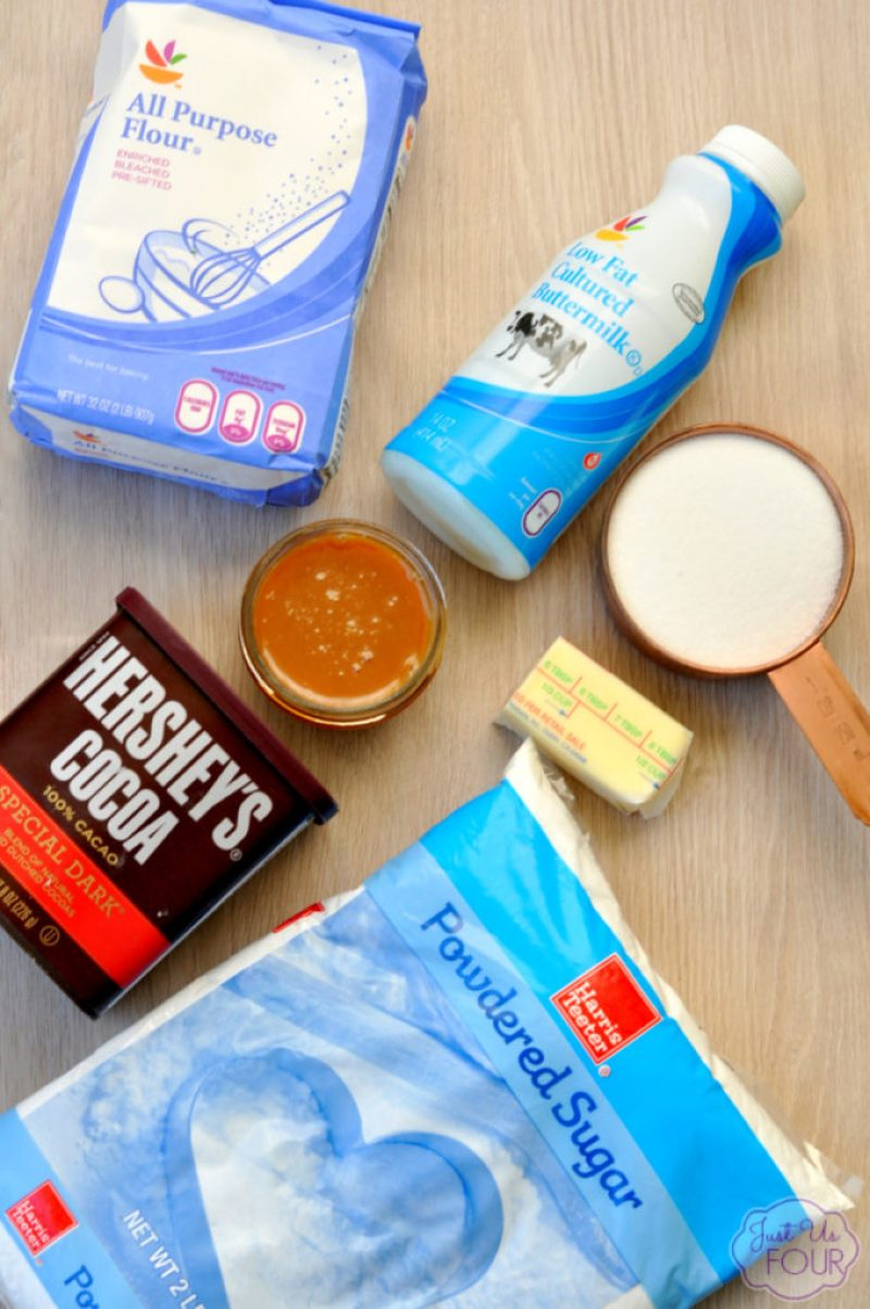 ingredients for mini caramel chocolate cake bites