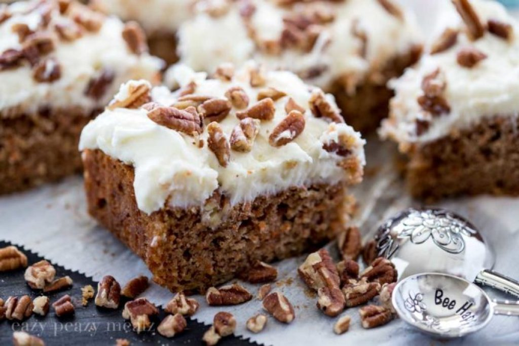 carrot cake bar with coconut cream cheese frosting