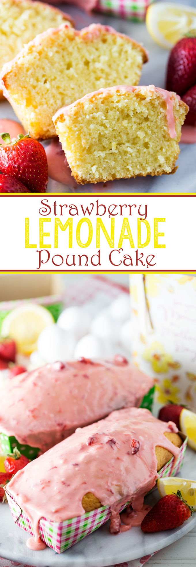 Sweet and lemon-y with a strawberry glaze, this Strawberry Lemonade Pound Cake makes for the perfect treat, and is ideal for gifting too