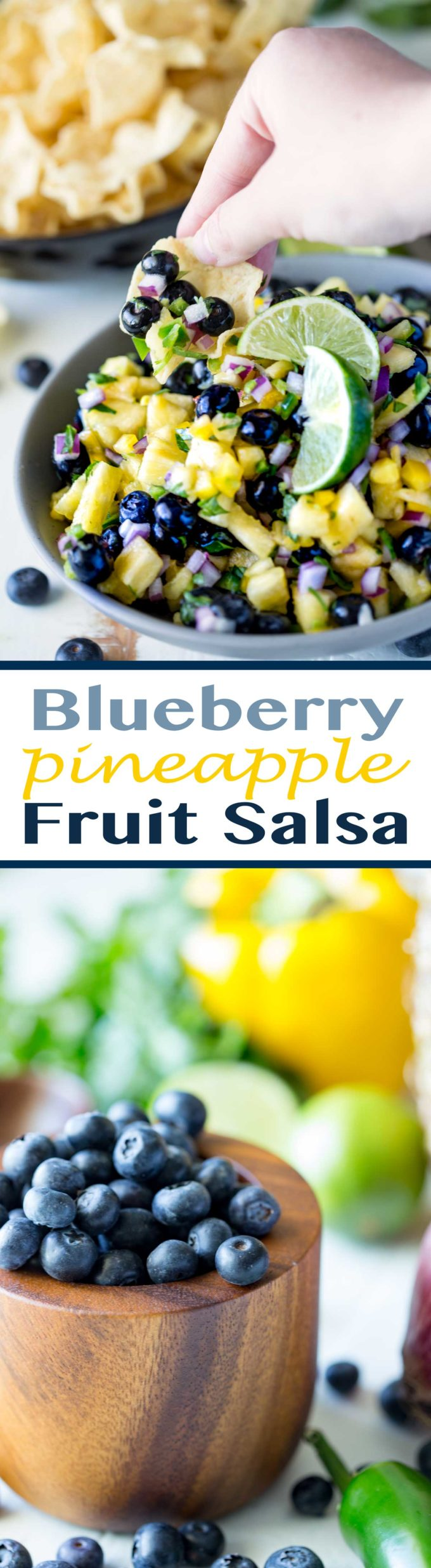Blueberry Pineapple Fruit Salsa is the perfect combo of sweet and heat! Makes a great appetizer or topper for fish