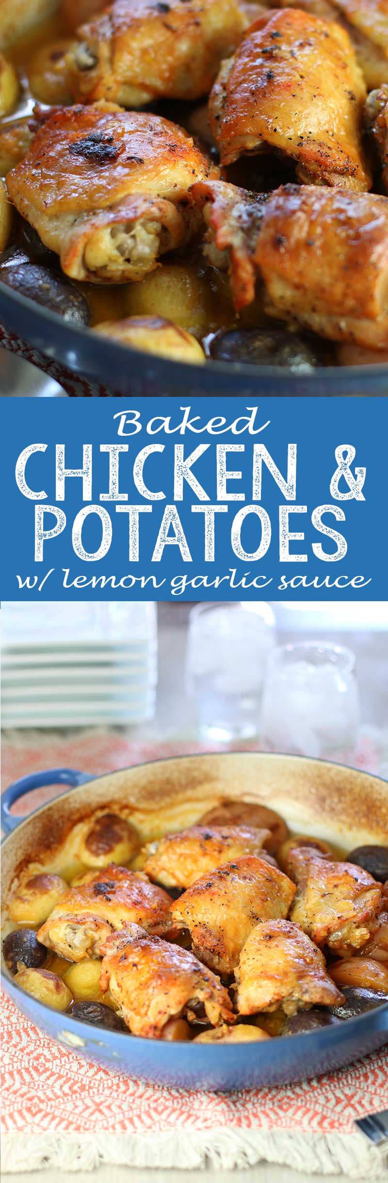 Chicken and Potatoes with lemon garlic sauce
