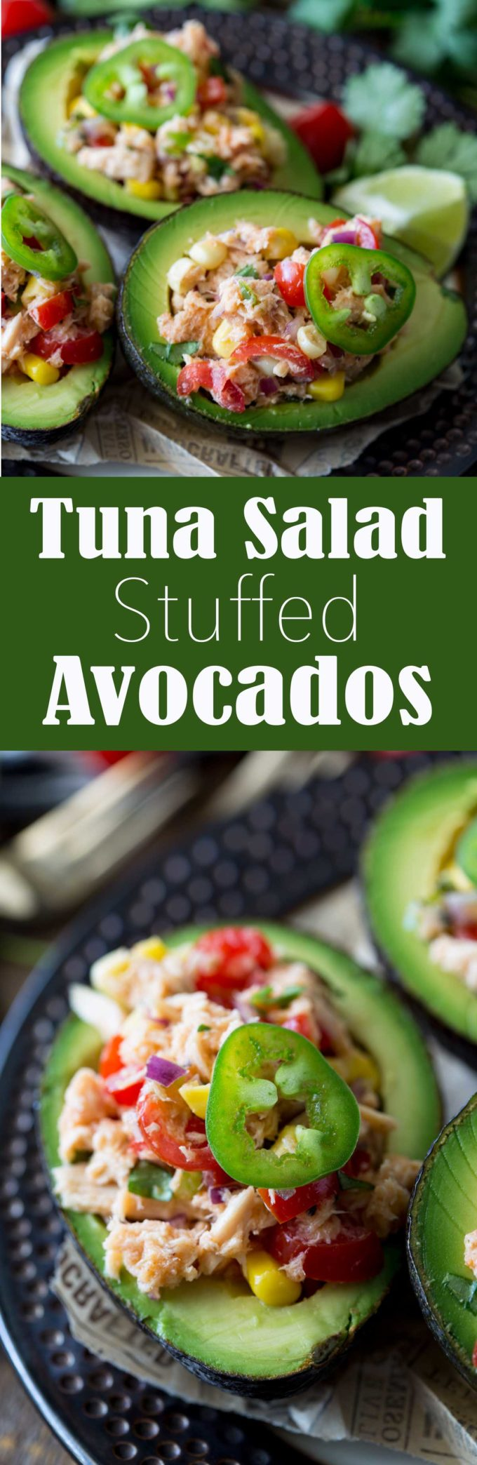 I made this when I needed a quick but light and healthy lunch, and now it is part of my regular lunch rotation. Yummy! Tex Mex Tuna Salad Stuffed Avocado
