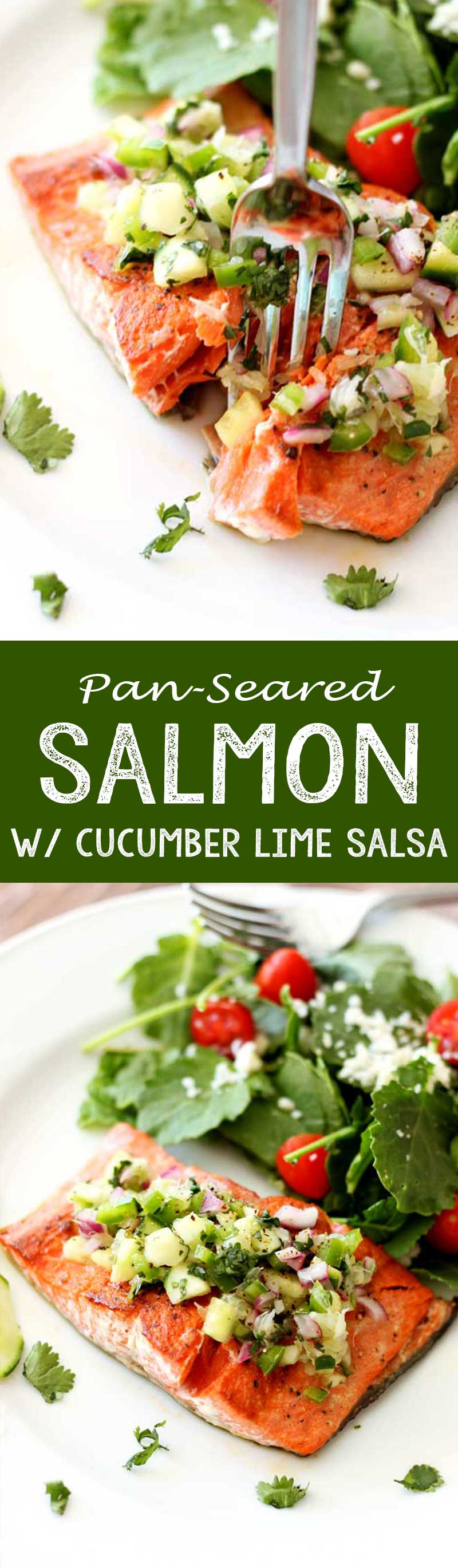 This was the easiest weeknight meal ever. Pan Seared Salmon with cucumber lime salmon